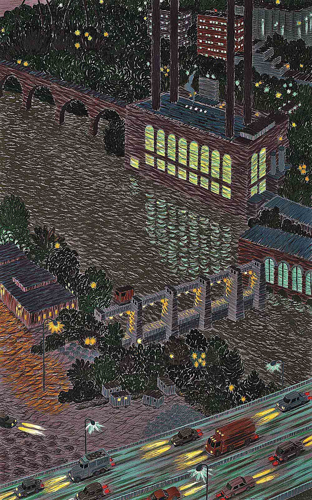 Yvonne Jacquette art, a big city at night from an aerial view