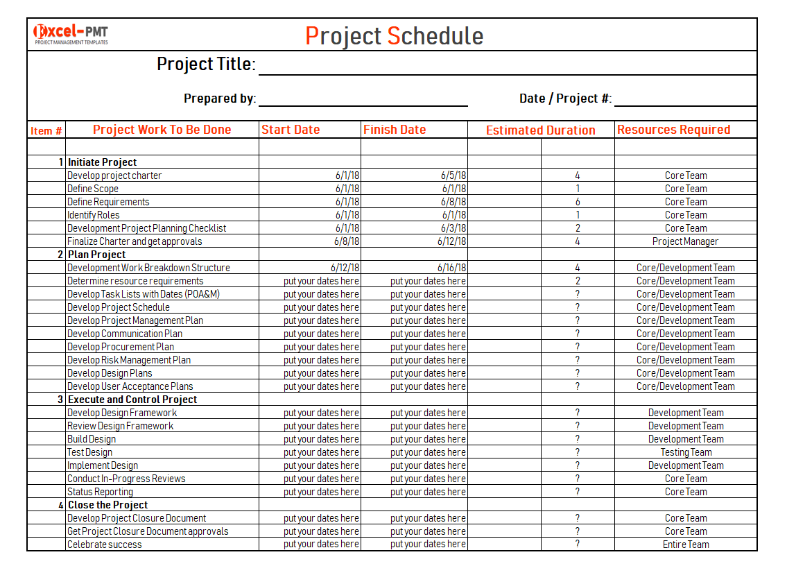 Project Schedule template & Examples for Excel | Project ...