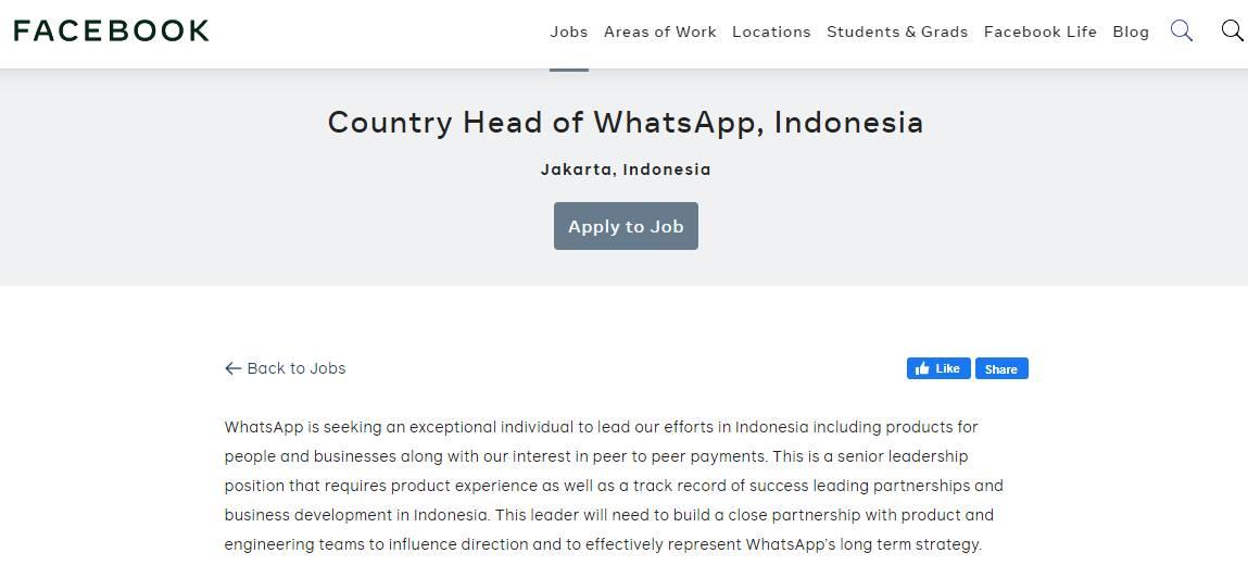 Lowongan Kerja Jadi Bos WhatsApp Indonesia (facebook.com)