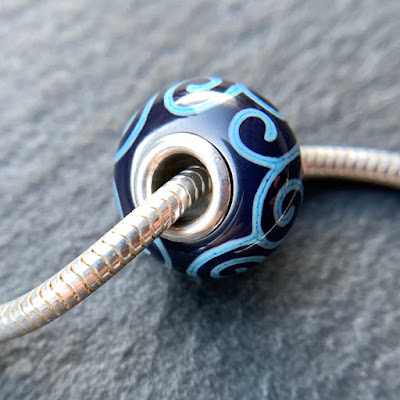 Handmade lampwork glass silver core big hole charm bead by Laura Sparling made with CiM Blueberry Muffin