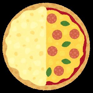 ハーフ&ハーフピザのイラスト
