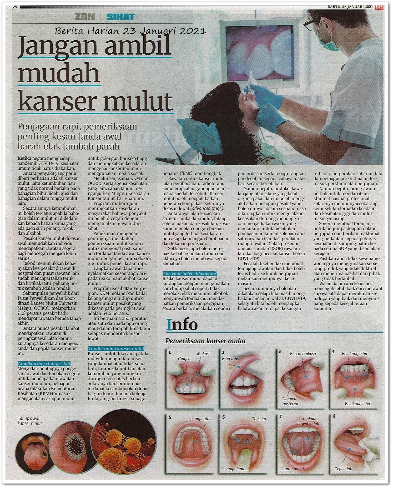 Jangan ambil mudah kanser mulut - Keratan akhbar Sinar Harian 23 Januari 2021