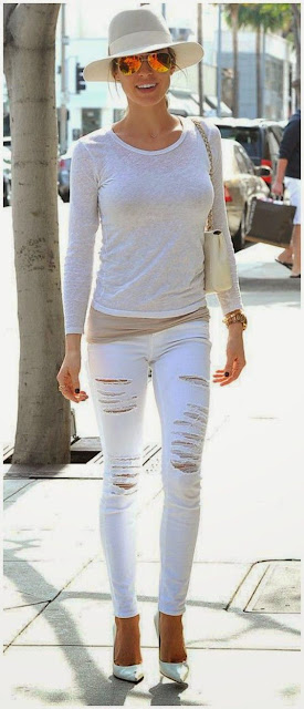 Kristin Cavallari in a white on white outfit - celebrity street style!