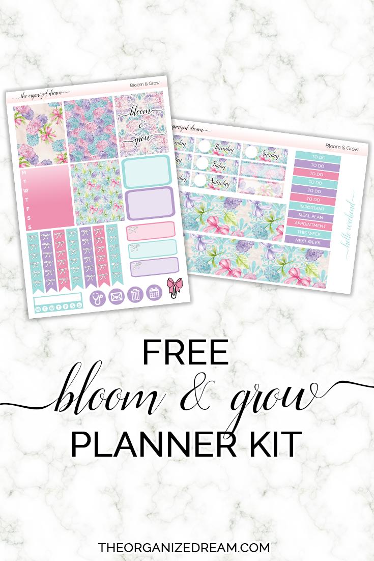 Free Bloom & Grow mini planner sticker kit!  #freebie #planning #stickers