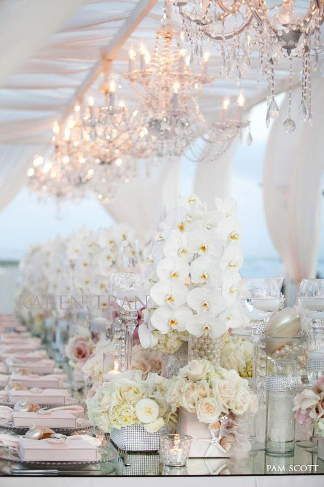 Wedding reception decoration long tables belle the for All white wedding theme pictures