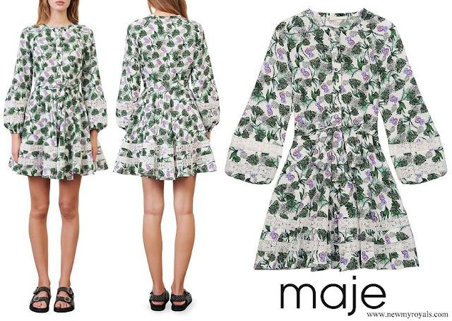 Princess Eleonore wore a MAJE Roman Lace Inset Floral Print Dress