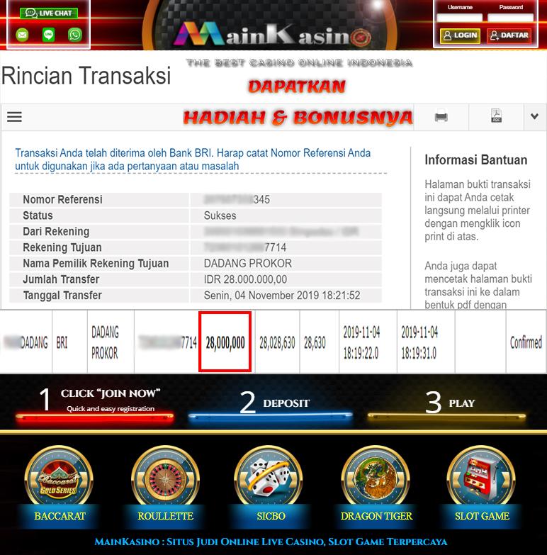 Selamat Kepada Member Setia MAIN KASINO Withdraw RP 28.000.000