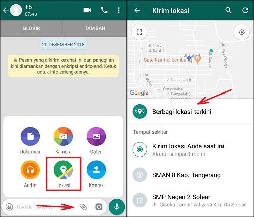 Cara Share Lokasi Terkini Dengan Teman Melalui WhatsApp
