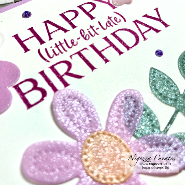 Shimmery Floral Belated Birthday Card
