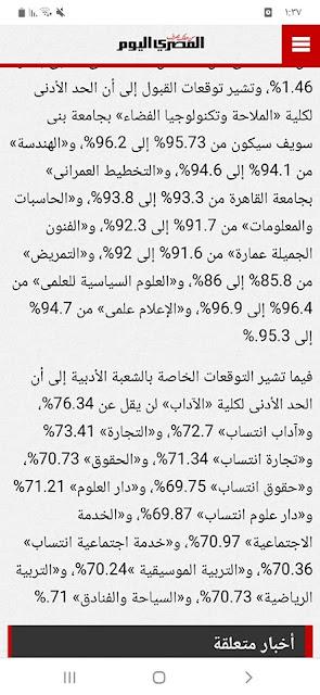 مؤشرات نهائية للمرحلة الثانية: الهندسة 94.1% الأداب 76.3% التجارة 73% الحقوق 70.7% دار العلوم 71%