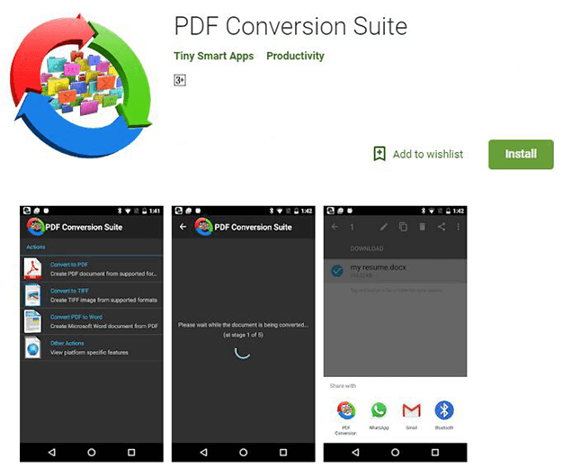 تطبيق PDF Conversion Suite للتحويل