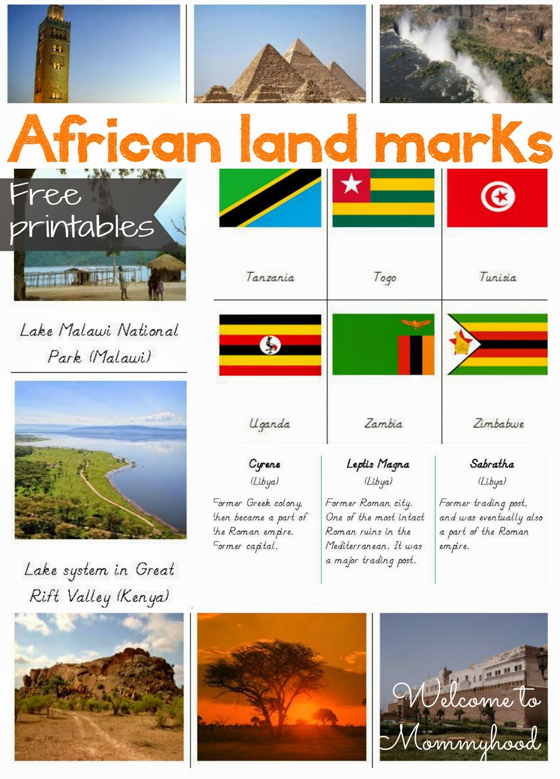 FREE PRINTABLES: African landmarks and African Flag Cards {Welcome to Mommyhood} #montessori, #freeprintables, #preschool, #homeschool