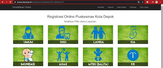 poli daftar online puskesmas di Depok