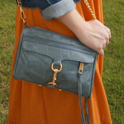 Rebecca Minkoff 2012 sky grey mini MAC bag with amber maxi dress | away from blue