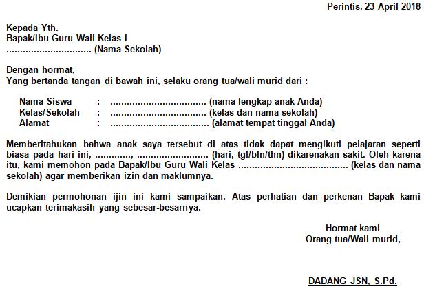 Contoh Surat Izin Sakit Sekolah SMP (via: semuacontoh.com)
