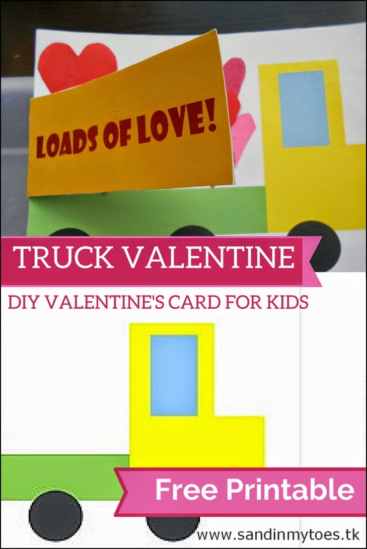 A Truck Valentine's card for kids to make, with a free printable template.