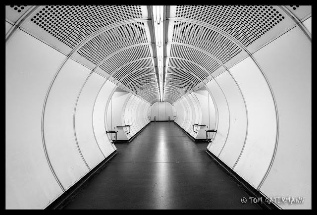Looking down a pedestrian tunnel at the Karlsplatz U-Bahn Station.
