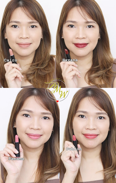 a photo of Makeup World Lipsticks Review in shades Cairo, Havana, Panama and Dublin.