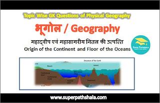 महाद्वीप एवं महासागरीय नितल की उत्पत्ति GK Questions SET 1