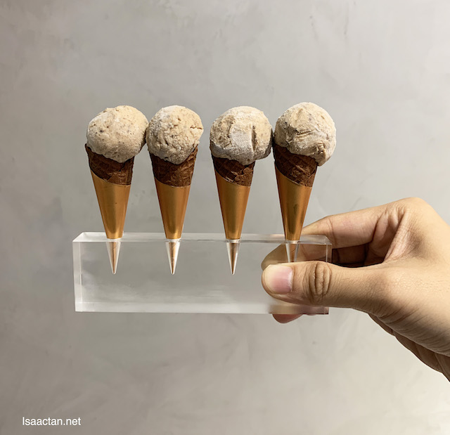 Taste portions of four flavours in these cute mini cones