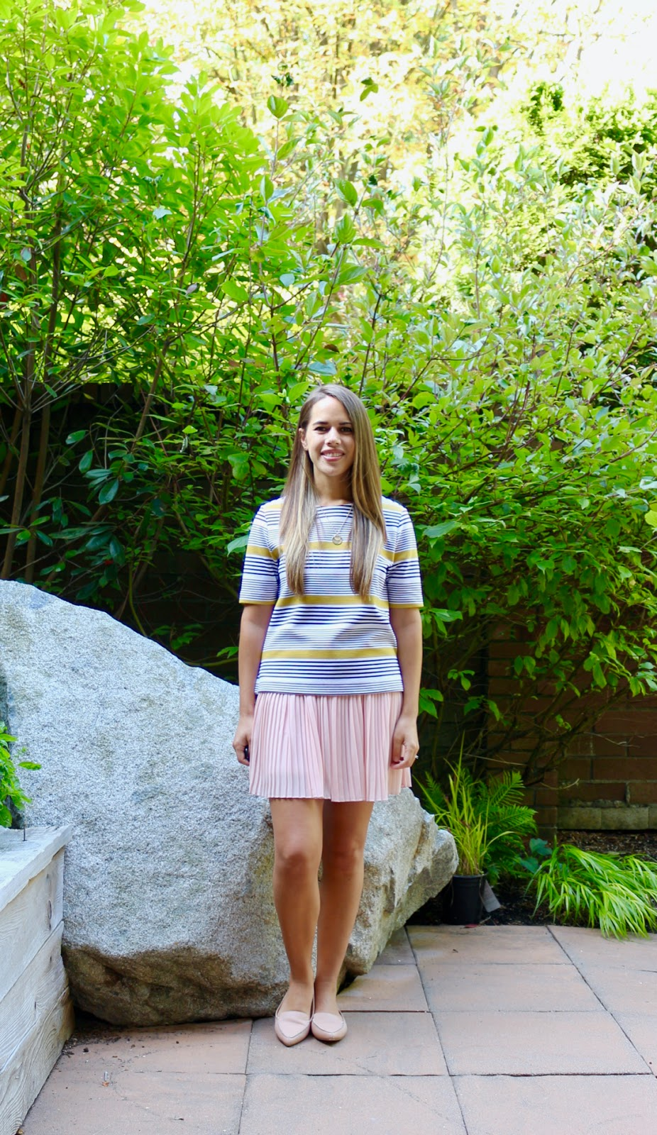 Jules in Flats - Boxy Striped Top with Pleated Mini Skirt (Business Casual Spring Workwear on a Budget)