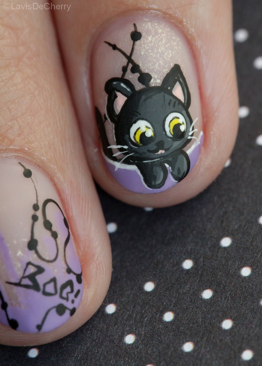 nail-art-halloween-chat-noir-mignon-french-cute-black-cat