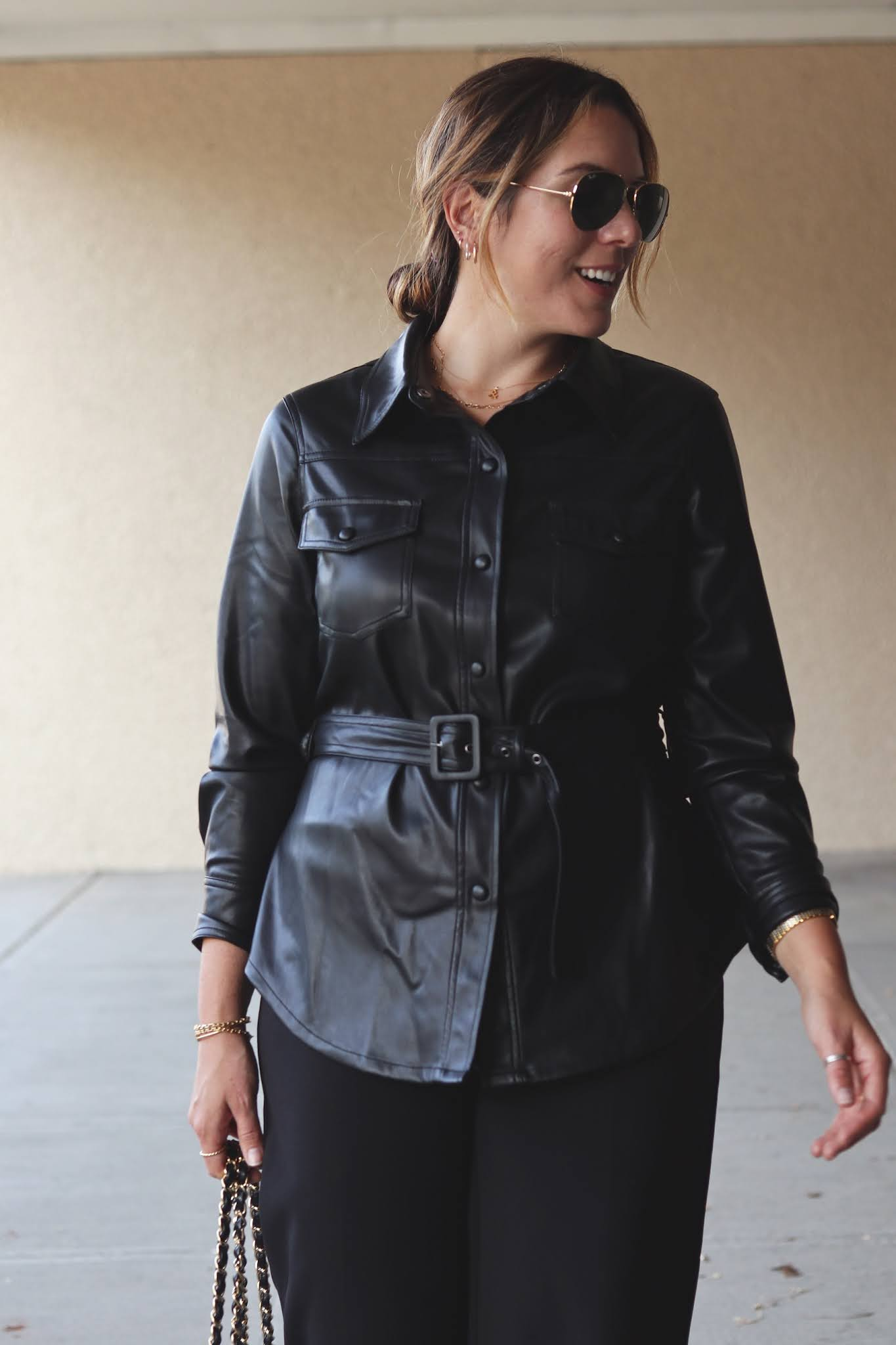 belted faux leather shirt jacket le chateau shacket outfit fall