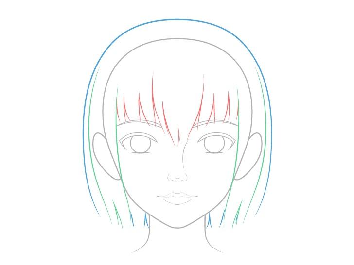 Rincian gambar rambut anime yang realistis