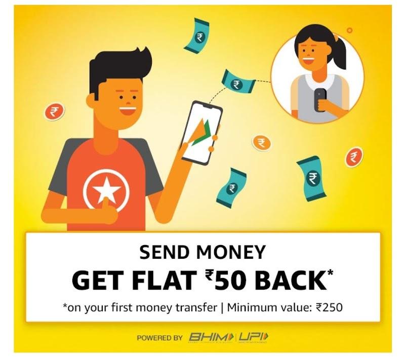 Amazon UPI- Send 250₹ Money & Get  ₹50 Cashback + 31₹ per referral (Unlimited referrer)