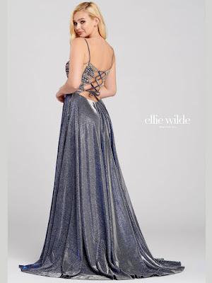 Ellie Wilde Nacy blue color a-line prom dress back side