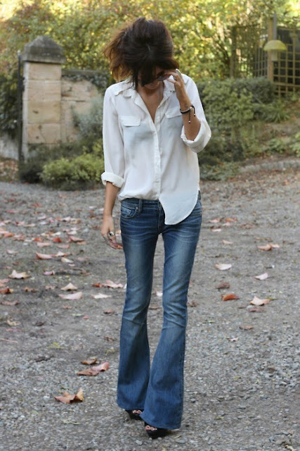 Classic white shirt and blue jeans
