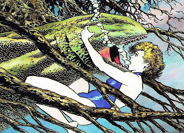 a Bernie Wrightson story panel showing a woman underwater surprised by a monster eel