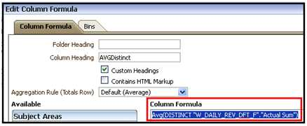 AVGDISTINCT FUNCTION IN OBIEE11g