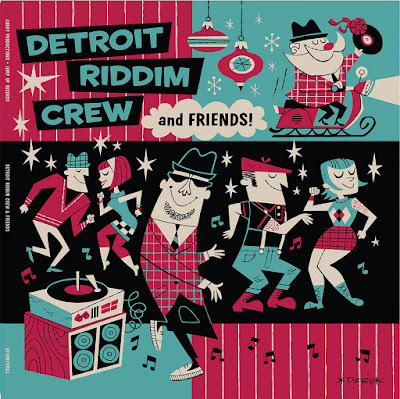 The cover illustration depicts rude boys and girls dancing to music playing on a record player; in a corner, Santa rides on a Vespa sleigh carrying a record with a bow on it.