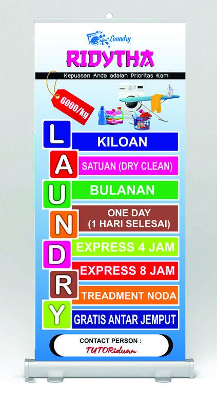 Desain Banner Laundry dengan CorelDraw - TUTORiduan.com