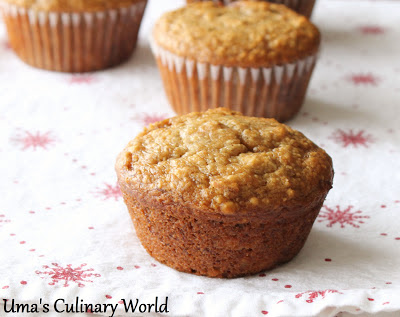 Eggless Banana Oats Muffins