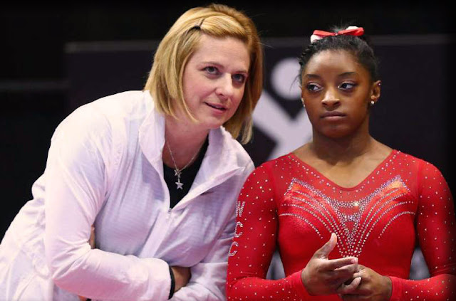 Coach Aimee Boorman and Simone Biles