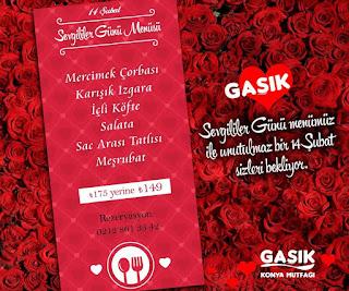 Gaşık Konya Mutfağı  İstanbul Sevgililer Günü Menüsü 2020
