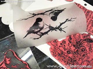 stamping Tim Holtz birds and branches onto tissue paper with Archival Ink