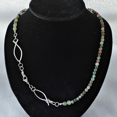 Bloodstone Chain with Wire Ichthus as necklace
