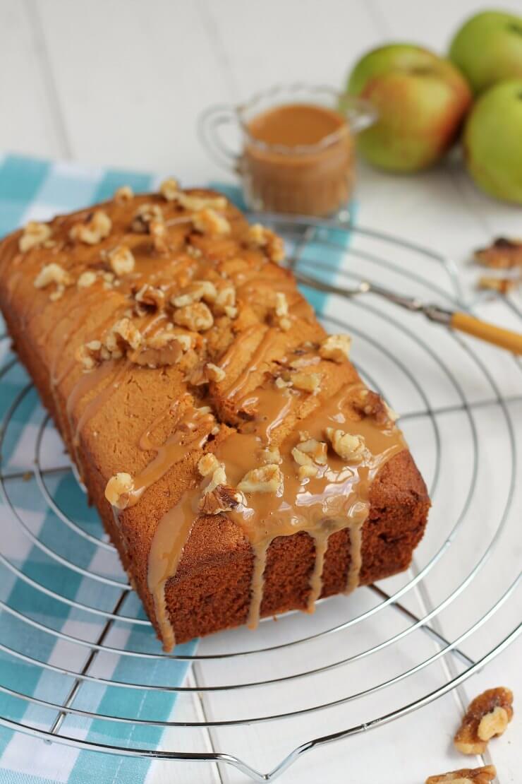 Caramel glaze on apple loaf cake