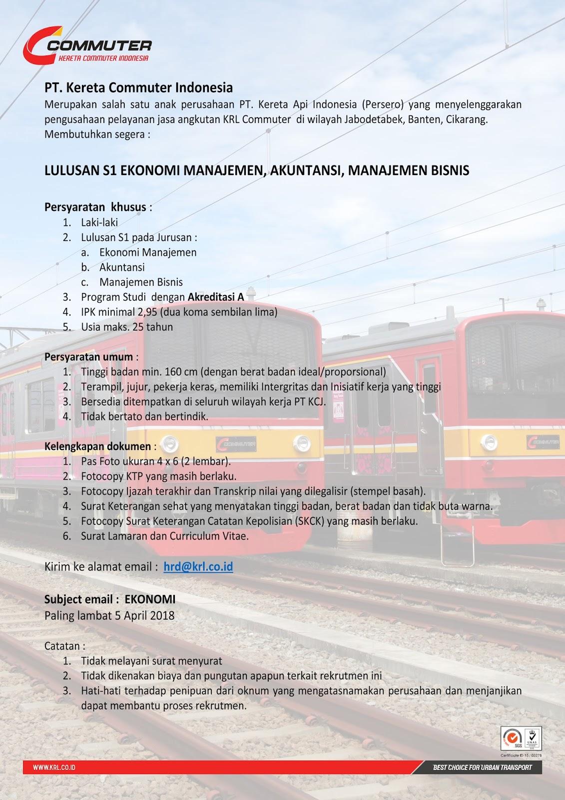 Rekrutmen Pt Kai Commuter Jabodetabek Pendidikan Minimal S1