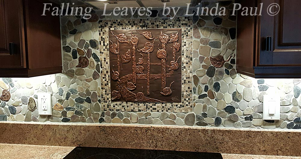 Surprising Arts And Crafts Style Mosaic Tile And Metal Leaves And Pebbles Backsplash Design Download Free Architecture Designs Grimeyleaguecom