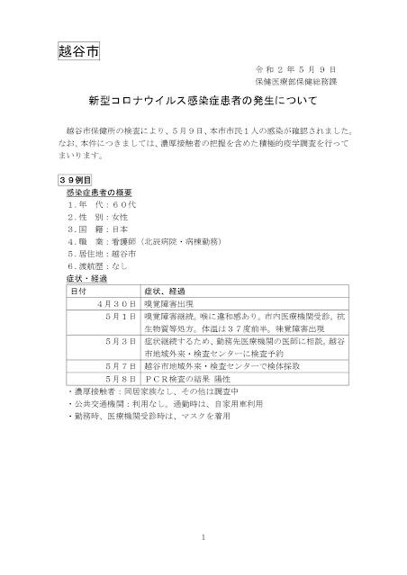 新型コロナウイルス感染症患者の発生について(5月9日発表)