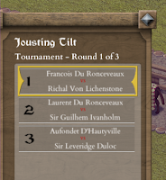 Tourney medieval tournament simulation game context menu