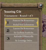 Tourney medieval tournament simulation game context menu