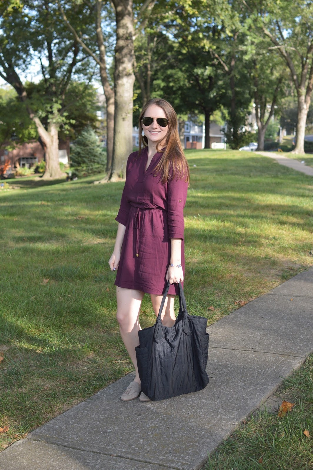 maroon shirt dress for fall | a memory of us | kansas city fashion blog | utility shirt dress from macys