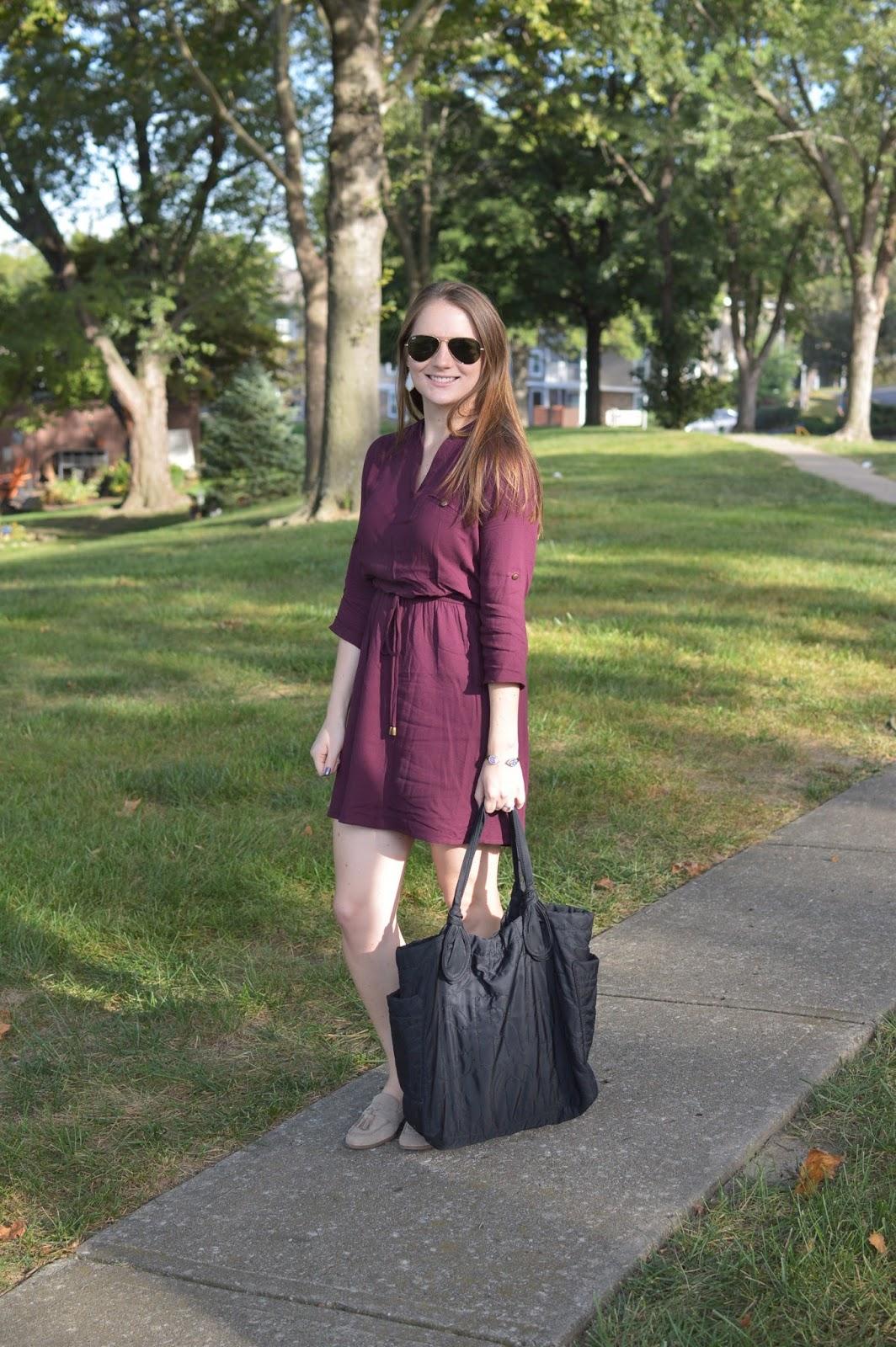 maroon shirt dress for fall | a memory of us | kansas city fashion blog | utility shirt dress from macys