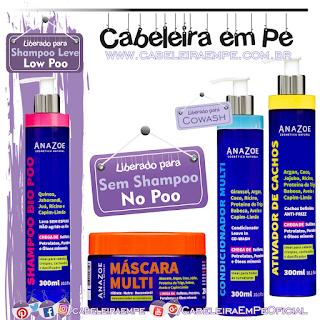 Shampoo (Liberado para Low Poo), condicionador, máscara e ativador de cachos (Liberados para No Poo) Bio - Anazoe