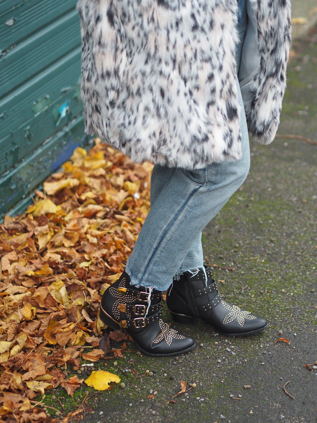Deichmann studded black ankle boots
